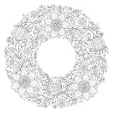 Flowers wreath. Coloring book page for adult Royalty Free Stock Image