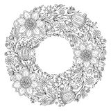 Flowers wreath. Coloring book page for adult Royalty Free Stock Images