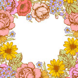 Flowers Wreath. Greeting Card. Stock Images