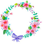 Flowers wreath. Hand painted watercolor flowers wreath. Colorful floral collection with leaves and flowers. Wedding,birthday,celebration card elements Royalty Free Stock Images