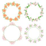 Flowers in wreath - round floral vector frames. Flowers in wreath - round floral vector  frames Stock Photography