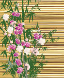 Flowers on yellow bamboo background Royalty Free Stock Photography