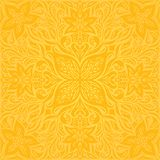 Flowers in Yellow, colorful floral wallpaper background mandala pattern in trendy fashion vintage style royalty free illustration
