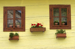 Flowers in yellow house window Royalty Free Stock Photos