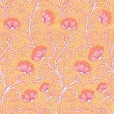 Flowers on yellow seamless pattern Stock Photos