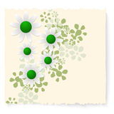 Flowers. Yellow slip of paper and white flowers Royalty Free Stock Photos