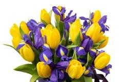 Flowers. Yellow tulip and iris bouquet Stock Photos