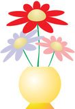 Flowers in yellow vase. Vector illustration of three flowers in yellow vase Royalty Free Illustration
