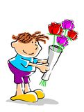 Flowers for you. Little boy delivering a bouquet of flowers. Conceptual illustration, expression of affection and love for a loved one Royalty Free Illustration