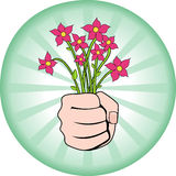 Flowers for You. Vector Illustration of Hand Giving Flower Bouquet Royalty Free Stock Images