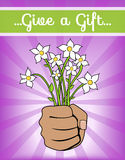 Flowers for You Card Template. Vector Illustration of Hand Giving Flower Bouquet Stock Image
