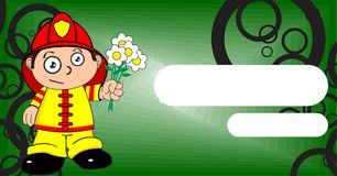 Flowers young firefighter kid cartoon background. Cute young firefighter kid cartoon background in vector format Royalty Free Stock Images