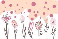 Flowers for your design. Digital trendy llustration Royalty Free Stock Images