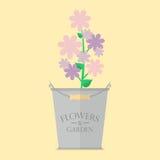 Flowers in zinc pot flat icon Stock Photo