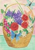 Flowerses в корзине Стоковые Фото
