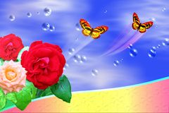 Flowerses and butterflies. Scene flying off from colour butterfly on turn blue background Stock Images