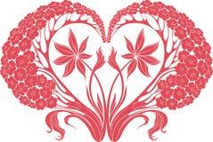 Flowersf in forma di cuore Rosso Fotografia Stock Libera da Diritti