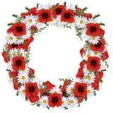 Flowerwreath von Gänseblümchen, von Mohnblumen und von Gras für Feier Lokalisiert auf Weiß vektor abbildung