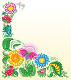 Flowery background. With pink, blue and yellow flowers and berries royalty free illustration