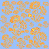 Flowery Background blue. Background of Ornamental Flowers in light yellow and orange colours on blue. Seamless tile royalty free illustration