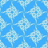 Flowery blue and white pattern Stock Image