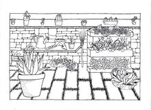 Flowery courtyard handmade. This handmade design represents a flowery courtyard. There are work tools, harvested tulips, succulents and an aloe vera plant. A stock illustration