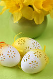 Flowery Easter eggs Stock Photo