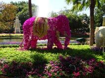 Flowery elephant. Garden animal pink decoration royalty free stock photos
