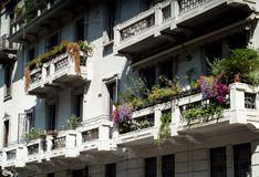 Flowery Facade in Italy Stock Image