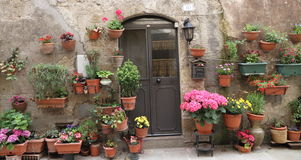 Flowery front door, Italy Royalty Free Stock Photos