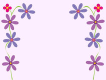 Flowery Greeting Card Illustration- Vector. Vector illustration of a card decorated with climbing flowers on each side royalty free illustration