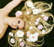 Flowery hair Stock Photos