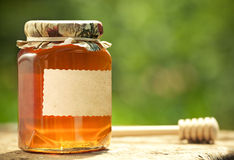 Flowery honey in glass jar. Honey jar with blank paper label and wooden stick on table against green spring natural background Royalty Free Stock Photography