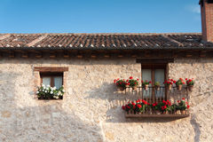 Flowery house. An old flowery house in Pedraza, Segovia (Spain Stock Photos