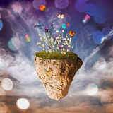Flowery island. In the middle of the sky royalty free illustration