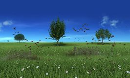 Flowery meadow with bees in the spring. 3d render, flowery meadow with bees in the spring with cloud stock illustration
