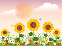 Flowery meadow with daisies, sunflowers and dragonfly in summer Vector design. Royalty Free Stock Photo