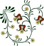 Flowery ornament. Red and yellow vector illustration