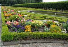 Flowery park, planted with trees, with water tanks of Bruhl castle in Germany Stock Photography