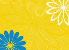 Abstract yellow background with flowers. Abstract yellow background with blue and white flowers Stock Photos