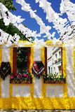 Flowery streets, Redondo village, Portugal. Royalty Free Stock Images