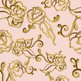Flowery and swirls metallic seamless pattern on neutral background. Gold, copper stock illustration