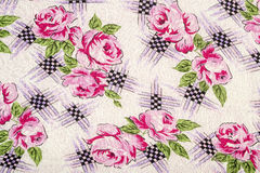 Flowery Table Cloth. Very Detailed Table Cloth With Roses Pattern Stock Photos