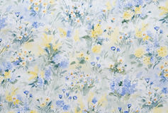 Flowery wallpaper. With different flowers stock photo
