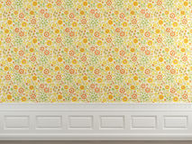 Flowery wallpaper wall Royalty Free Stock Image