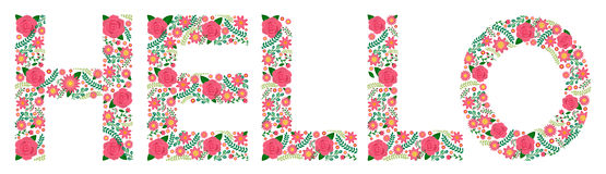 Flowery Word - HELLO - Roses Stock Photography