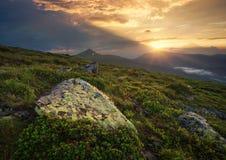 Flowes nelle montagne durante l'alba Immagini Stock