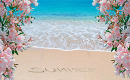 Flowes, sea and summer writing Royalty Free Stock Photography