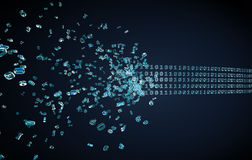 Flowing binary code on dark. Background Royalty Free Stock Images