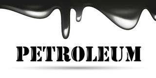 Flowing black oil drops. Petroleum company logotype. Petroleum word Stock Photography